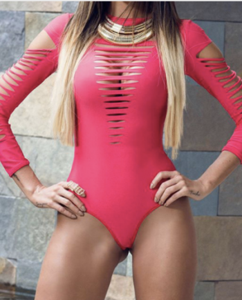 pink strap swimsuit