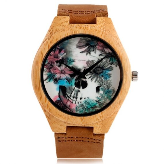 Scull and Flower bamboo watch